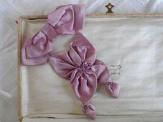 1920's Flapper Ribbonwork Silk Ribbon Sweet Study Piece Antique Clothing Dress Trim