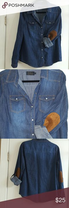 Chambray suede patch elbows denim shirt Medium wash chambray shirt with roll tab sleeves and faux suede patch elbows.  The snap closure are pearl like. Boutique,  large fits medium-sized.  Never worn Tops
