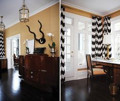 Office With Chevron Drapes      Update a room with trendy window treatments.      This spacious office in an old Victorian home was in desperate need of an update. HGTV star and Toronto designer Tommy Smythe added chevron drapes — an on-trend pattern for 2012 — which pop against the neutral grasscloth wallpaper.