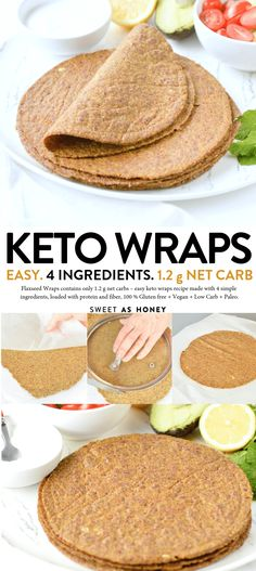 Flaxseed Wraps are NO carbs easy keto wraps recipe made with 4 ingredients. Flaxseed Wraps are NO carbs easy keto wraps recipe made with 4 ingredients. An easy protein wrap recipe to enjoy finger food wh Low Carb Bread, Keto Bread, Low Carb Keto, Low Carb Tortillas Keto, High Fat Keto Foods, Low Carb Vegan Diet, No Gluten Diet, Gluten Free Tortillas, Dukan Diet