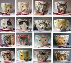 Wonder if I can get one with the puppy instead?  Yarn Bowl  Made to Order Knitty Kitty Cat knitting by MaidOfClay, $70.00