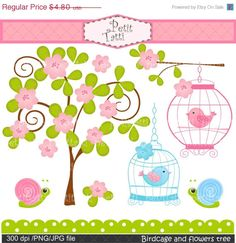 ON SALE birds Birdcage and flowers tree clip art by petittatti