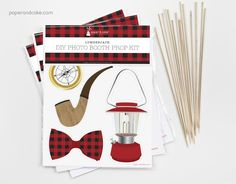 Such a great party activity! Lumberjack themed photo booth prop kit from paperandcake.com