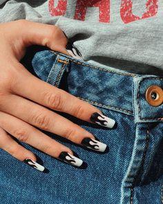 Acrylic Nails Coffin Short, Summer Acrylic Nails, Best Acrylic Nails, Edgy Nails, Hot Nails, Stylish Nails, Grunge Nails, Minimalist Nails, Nail Swag
