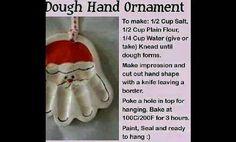 Salt,dough keepsake hand ornament