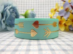 Midi Ribbon Gold Arrow Print Ribbon 7/8' 10 Yds/Pack -Aqua Color- For Winter Christmas Day Decorate Hair Bows Hair Clip Making DIY Crafts Gift Home Party Decorate >>> Check out the image by visiting the link.