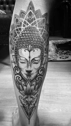 Buddha and mandala tattoo Hand Tattoo, Leg Sleeve Tattoo, Leg Tattoo Men, Buda Tattoo, Tattoos 3d, Body Art Tattoos, Calf Tattoos, Tattos, Buddha Lotus Tattoo