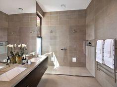 Modern bathroom design with twin basins using frameless glass - Bathroom Photo 16899545 Bathroom Sink Design, Bathroom Images, Glass Bathroom, Modern Bathroom Design, Bathroom Designs, Bathroom Ideas, Luxury Bedroom Design, Interior Design, High Walls