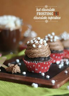 Hot Chocolate Frosting Recipe - a great cupcake idea for a Christmas party!