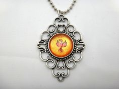 Hand Painted Phoenix Necklace Victorian Pendant Phoenix Pendant Phenix Necklace Bird Necklace Nickel Free Necklace Victorian Necklace by #CollinsFamilyCustomCrafts #PhoenixNecklace