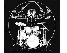 Drum T Shirt. Drummer T Shirt. Da Vinci vitruvian man drumming t shirt. Vintage Rock t shirts for men women kids. Drum Tattoo, Vintage Rock T Shirts, El Rock And Roll, Pearl Drums, Drum Music, Vintage Drums, How To Play Drums, Drum Kits, Drummers