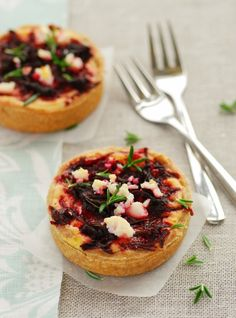 Caramelized Onion, Beetroot & Feta Tart | 180g of flour, 110g butter, 1 egg, 1 large bunch of asparagus, 50g goats cheese or goat feta, chopped or crumbled, 2 tbsp ricotta, zest of 1/2 lemon, handful fresh thyme leaves, salt & pepper. Olive oil, 100g feta cheese, 1/4 cup balsamic vinegar, 2 tsp sugar, 2 red onions, 2 small beetroot, 100ml cream, 1 free range egg, Salt & pepper for seasoning, Handful fresh rosemary.
