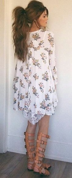 #spring #outfits White Floral Dress & Strap Sandals