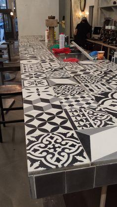 Southern Tiles: Cementtiles, Patchwork-Mix 20x20 cm // Campis Volksbühne, Cologne www.southerntiles.de