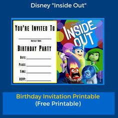 """Planning an Inside Out Party? Here is a Free """"Inside Out"""" birthday invitation templates to use. Click on the image above to download the free """"Inside Out"""" birthday invitation."""