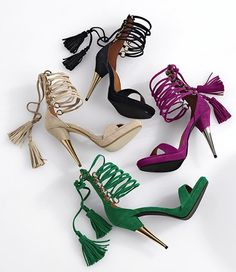 Love the colors Hot Shoes, Shoes Heels, Tassel Heels, 70s Glam, Gorgeous Heels, Ankle Wrap Sandals, Spring Trends, High Heel Pumps, Other Accessories