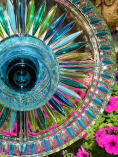 GARDEN stakes, YARD sun catcher, glass plate flower.