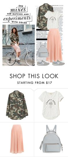 """""""New Balance + pleated skirt +camo jacket + backpack"""" by gabriela2105 ❤ liked on Polyvore featuring MANGO, Hollister Co., Fendi, New Balance and Kate Spade"""