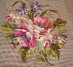 Needlepoint Stitches, Needlework, Cross Stitch Flowers, Cross Stitch Charts, Embroidered Flowers, Wool Yarn, Hand Embroidery, Weaving, Tapestry