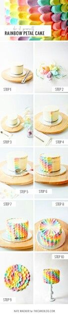 Rainbow icing cake