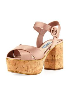 PRADA Satin Crisscross Platform Sandal, Neutral. #prada #shoes #sandals