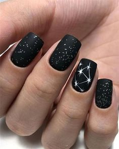Black Nails Designs Inspirations 2019 The black nail designs are stylish. It is loved by beautiful women. Black nails are an elegant and chic choice. Color nails are suitable for almost every piece of clothing and matching occasions. Black Nail Designs, Short Nail Designs, Nail Art Designs, Nails Design, Shellac Designs, Blog Designs, Stylish Nails, Trendy Nails, Cute Nails