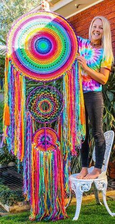 giant rainbow dream catcher for your hippy home _ by  Hobi ve Örgü Çeşitleri