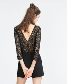 Image 1 of LACE JUMPSUIT DRESS from Zara