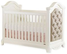 Sweet now, sophisticated later, the BassettBaby PREMIER Addison Upholstered Crib is beautifully designed with tufted, dove grey linen-textured end panels and an arched headboard detailed with carved ribbons and roses. Nursery Furniture Collections, Baby Nursery Furniture, Nursery Room Decor, Nursery Ideas, Girl Nursery, Crib Bedding, Bedding Shop, Upholstered Crib, Convertible Crib