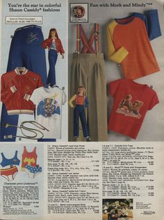 1979 Shawn Cassidy and Mork and Mindy swag/ Wonder Woman/Remember people wearing those rainbow suspenders.