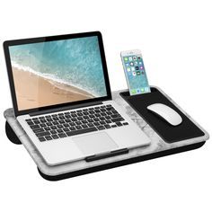 LapGear Home Office Lap Desk with Device Ledge, Mouse Pad, and Phone Holder - White Marble - Fits Up To Inch Laptops - style No. Laptop Desk For Bed, Laptop Table, Laptop Stand, Portable Laptop Desk, Lap Desk With Storage, Desk Storage, Mini Desk, Laptop Wallpaper, Office Wallpaper