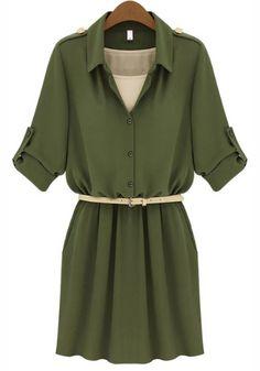 Army Green Lapel Belt Bandeau Chiffon Dress