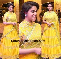 Keerthy Suresh in Divya Reddy Lehenga at Remo Audio Launch