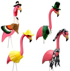 Large Pink Flamingo with 4 Seasonal Outfits Outdoor Lawn Decor Thanksgiving St. Patrick's Day and More