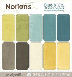 Notions Blue & Co Digital Scrapbooking Solids  By Jen Allyson