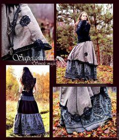 """Купить Длинная юбка""""Сухоцвет """"двойная юбка бохо - зимняя бохо юбка, двойная длинная юбка"""