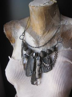 Ancient Echoes. Rustic Tribal Art Assemblage Mixed Media Necklace with Quartz Crystal and Collage Art Pendants.