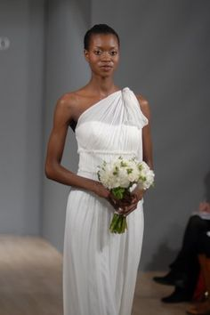 grecian one shoulder wedding dress