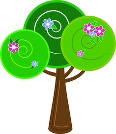 Tree Clipart Image: Flowers blooming on a whimsical tree