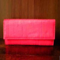 Raw Silk Wallet-Tomato Red