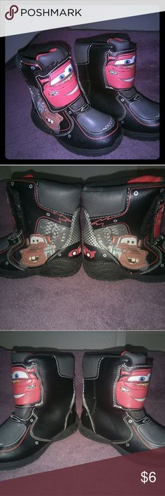 Toddler boys Cars McQueen light up boots My son wore these a handful of times.  Very little wear.  They still light up perfectly and have lots of life left in them for your little to love! Shoes Rain & Snow Boots