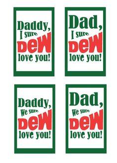 Father's Day Printable: Mountain Dew Tag #father #gift #printable