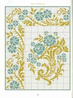 Bordures frisés fleuries ♡ 花 ボーダー クロスステッチ Cross Stitch Geometric, Cross Stitch Love, Cross Stitch Borders, Cross Stitch Charts, Cross Stitch Designs, Cross Stitching, Cross Stitch Embroidery, Cross Stitch Patterns, Blackwork Patterns