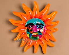 Hand Painted Pottery Wall Sun 12 This is a unique piece of decorative hand painted pottery made by hand by the famous potters of Oaxaca. Perfect for southwest decor, home decorating or as a western accessory, this ceramic wall sun if Hand Painted Pottery, Pottery Painting, Hand Painted Ceramics, Southwest Decor, Southwestern Decorating, Talavera Pottery, Native American Pottery, Sun Art, Pottery Making