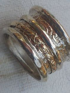 Spinner ring silver gold designer jewelry floral  by Bluenoemi, $235.00