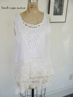 French Sugar Couture 2015 SPRING/SUMMER COLLECTION  White Sleeveless Lagenlook Tank Top with Layer's of Lace - Altered Couture by frenchsugarcouture on Etsy