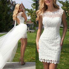 2016 New Scoop Sheath Wedding Dresses Short Lace Cap Sleeve Detachable Trian Tulle Bridal Dresses
