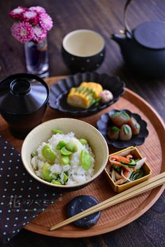 SoramameGohan ♥ ♡༺✿ ☾♡ ♥ ♫ La-la-la Bonne vie ♪ ♥❀ ♢♦ ♡ ❊ ** Have a Nice Day! ** ❊ ღ‿ ❀♥ ~ Mon June 2015 ~ ❤♡༻ ☆༺❀ . Japanese Lunch, Japanese Dishes, Japanese Food, Eat This, Food Decoration, Bento, Food Presentation, Asian Recipes, Food Inspiration