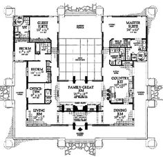 This is one of my favorite floor plans -- with the open courtyard in the middle.  Been in several similar and love it....especially with large windows or glass walls on two of the three sides facing the courtyard.