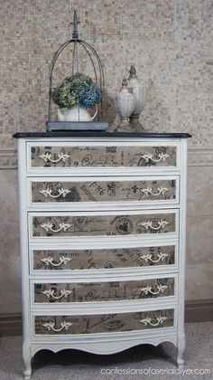 Dresser refashion with Fabric Inlay... I LOVE THIS! Totally attempting this on my newly aquired old dresser!
